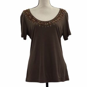 Escada Brown Beaded Sequined Beaded Blouse 42 NWT